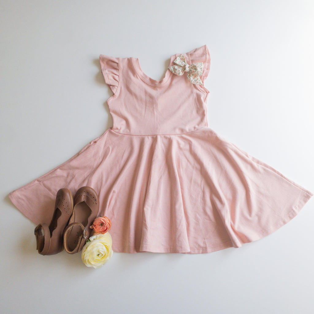 Elle Twirl Dress [Flutter Sleeve] in 'Sunset Pink' - Ready To Ship