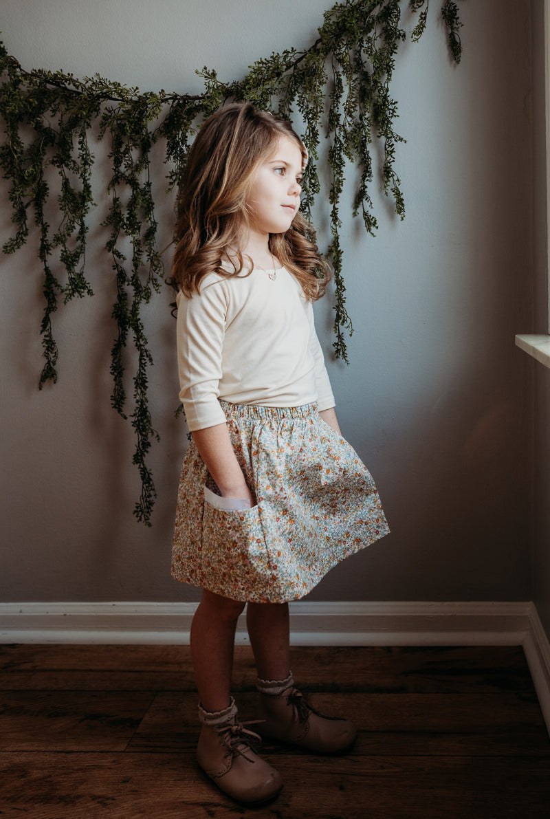 Christiana Skirt in 'Dotty Chambray' - Ready To Ship