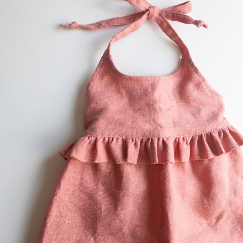 "Jane Ruffled Jumper in 'Crabapple 100% Linen"" - Ready to Ship"