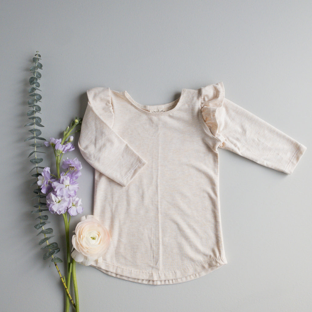 Millie Flutter Shirt in 'Oatmeal' - Ready To Ship