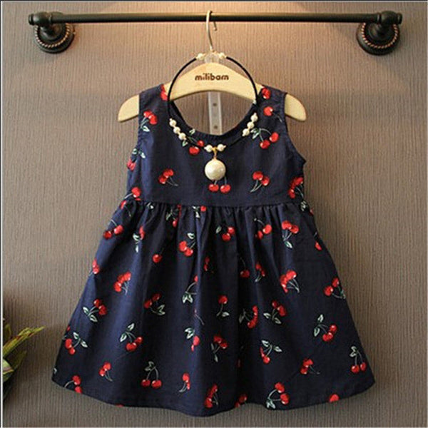2-11years Baby Girl Dress Clothes Floral Print Girls Dress Summer 2016 Costume Casual Clothes