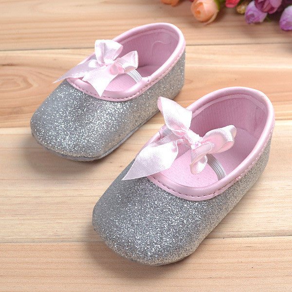 2015 Hot Sell Baby Girl Princess Sparkly Shoes Infant Cute Princess Golden Silver Footwear Toddlers Fashion Soft Sole Shoes