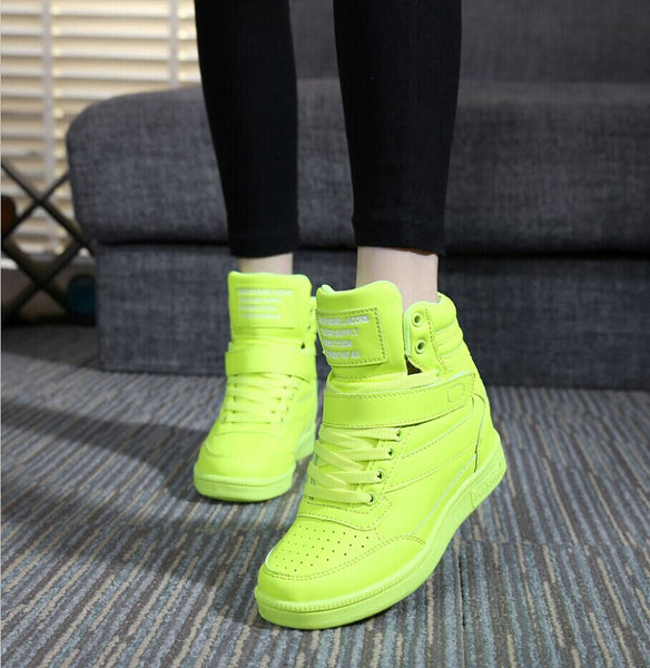 2015 spring autumn ankle boots heels shoes women casual shoes height increased wedges shoes high top mixed color