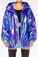 Iridescent Ripstop Hooded Raincoat