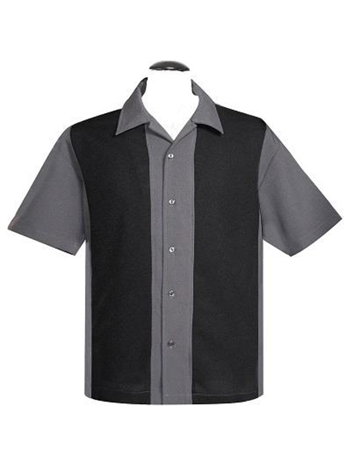 Poplin Wide Panel Black and Gray Shirt