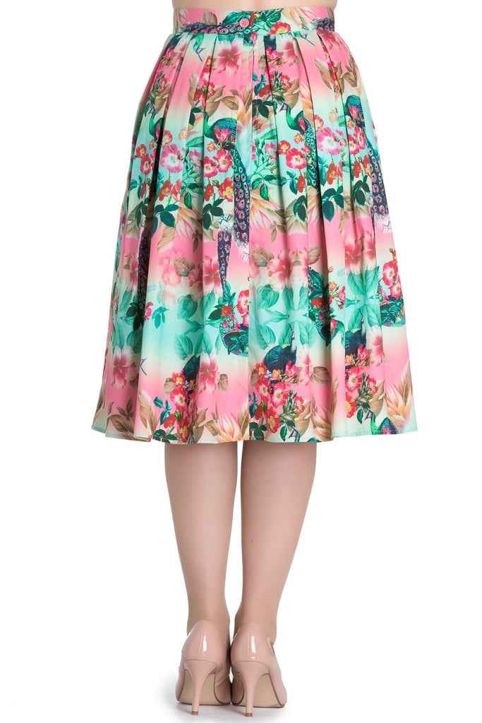 Tropical Peacock Pleated Skirt