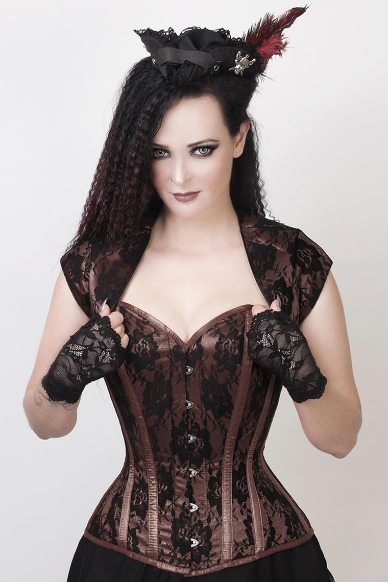 Sweetheart Vixen Corset & Bolero Set in Hazelnut