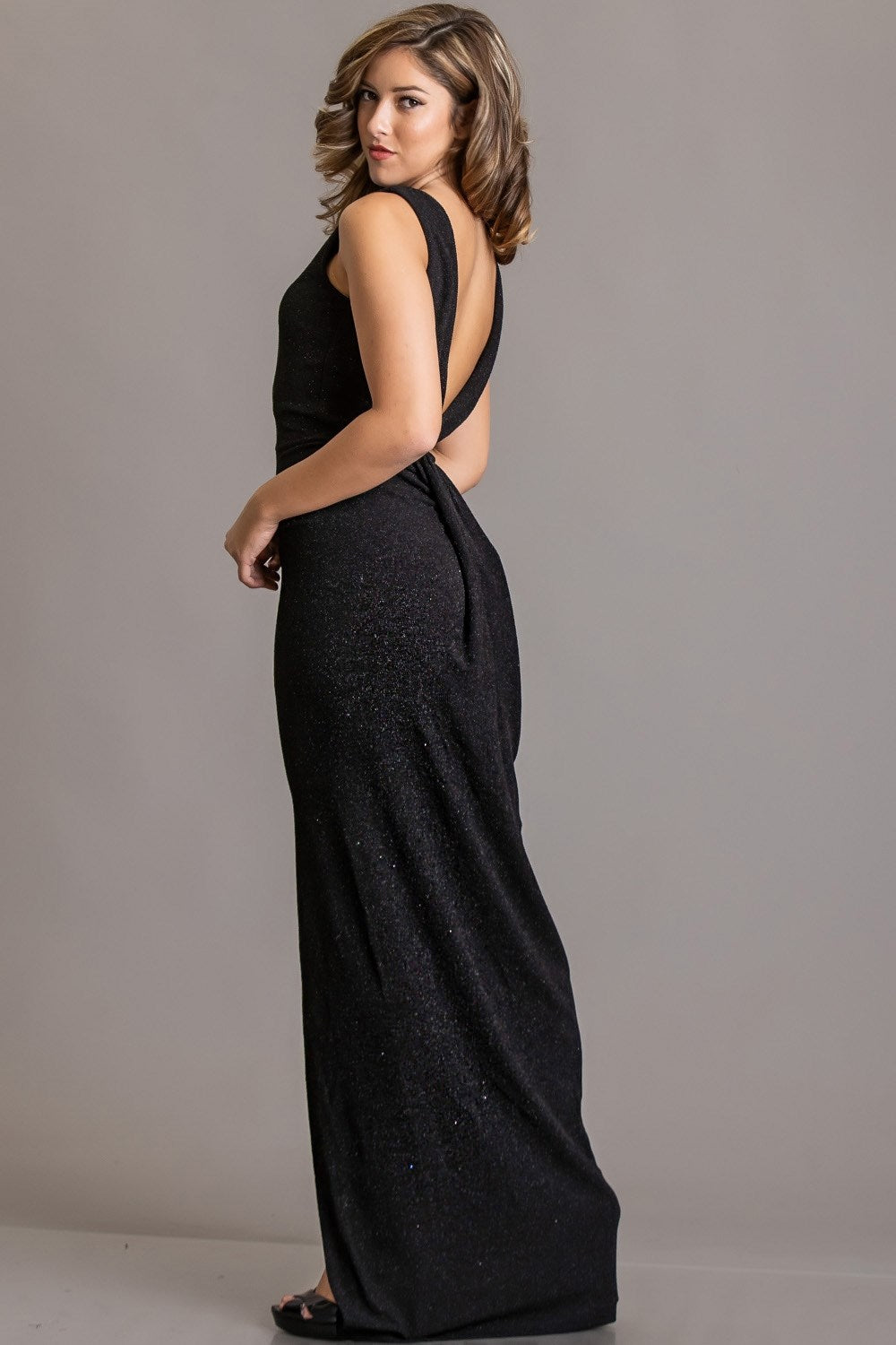 Lucille's Black Glitter Evening Gown