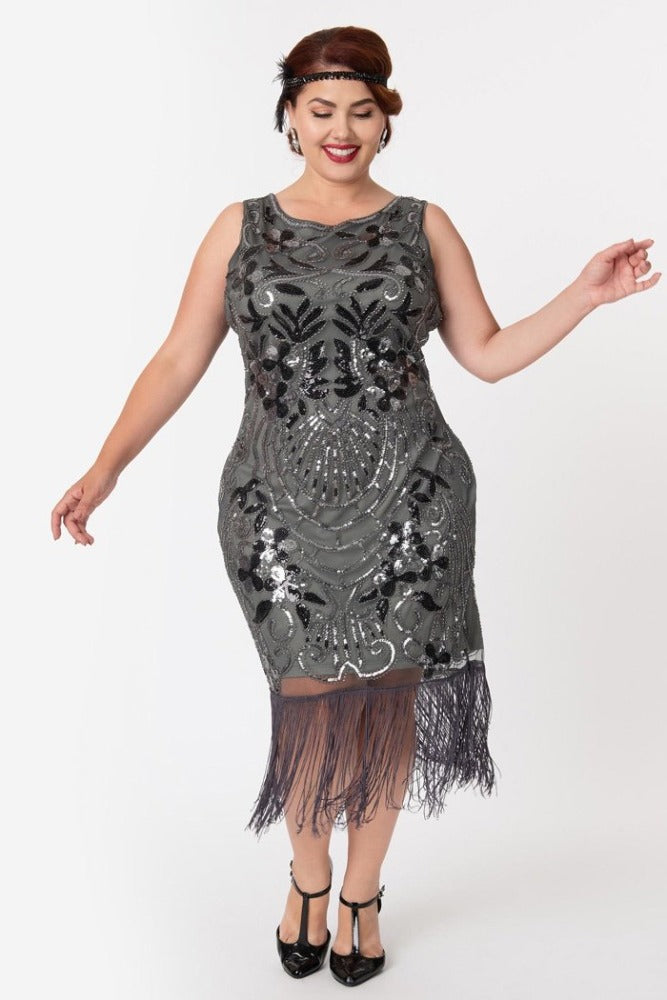 Colette Flapper Dress in Iridium