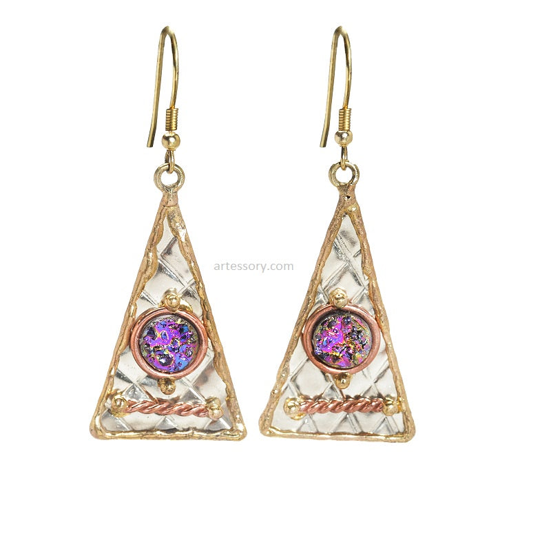 Gold Trinity Gemstone Earrings