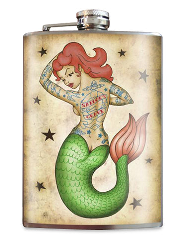 Tattooed Mermaid Flask