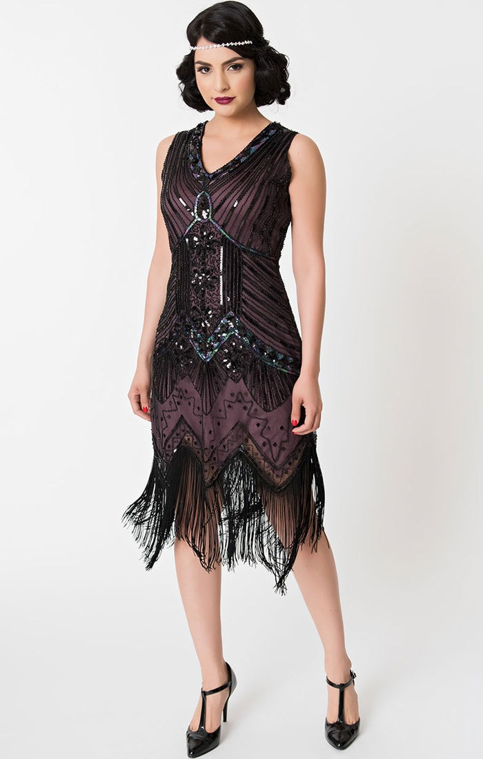 Daisy's Flapper Dress in Aubergine
