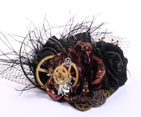 Timeless Bouquet Rose and Clock Fascinator  Hat