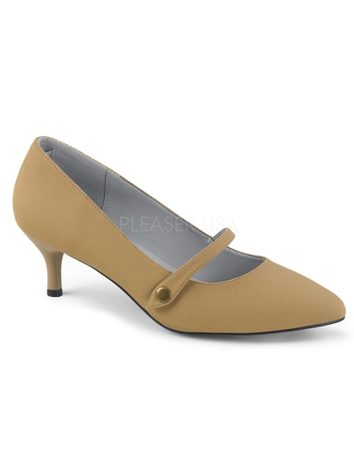 Kitten Heel Tan Mary Janes