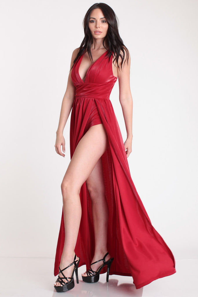 Shimmer Maxi Bodysuit in Red