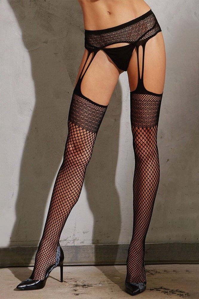 Faux Garter Fishnet Stockings