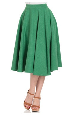 Sandy Full Circle Skirt in Mossy Green