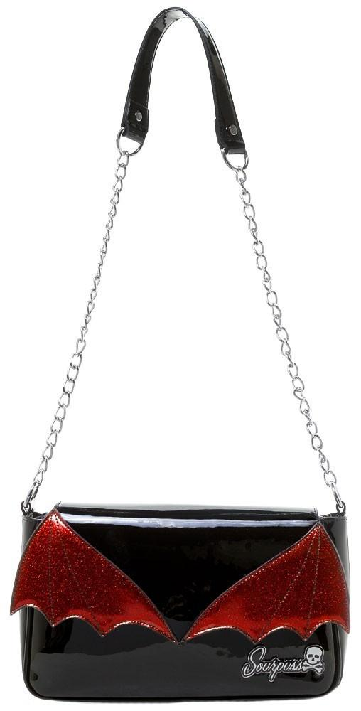 Red and Black Bat Wing Purse