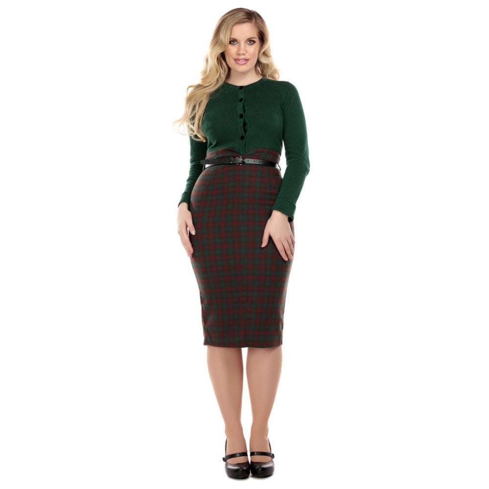 CARON WOODLAND PINE CHECK PENCIL SKIRT
