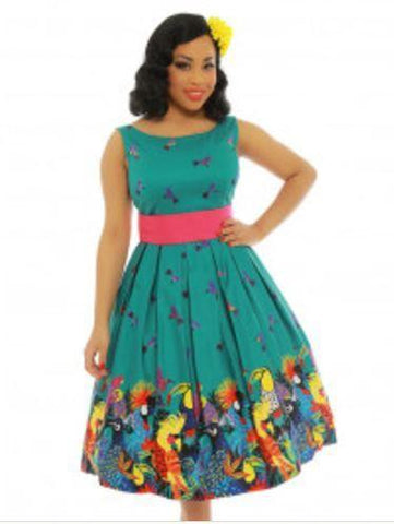 Tiki Room Tropical Birds Teal Dress