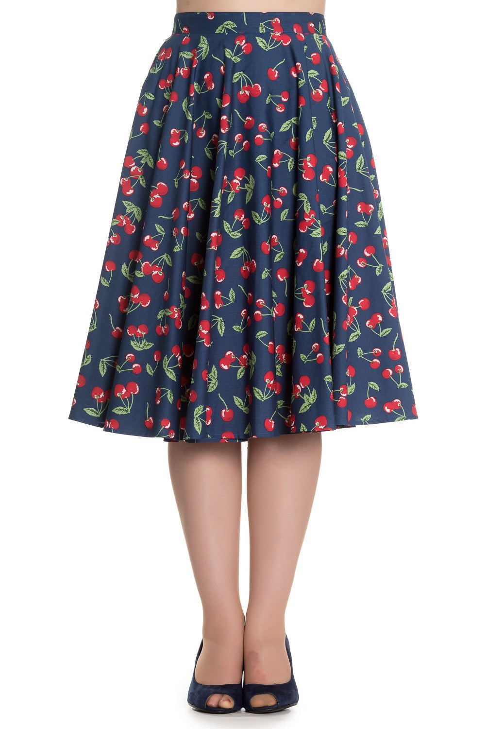 Navy Cherry Skirt
