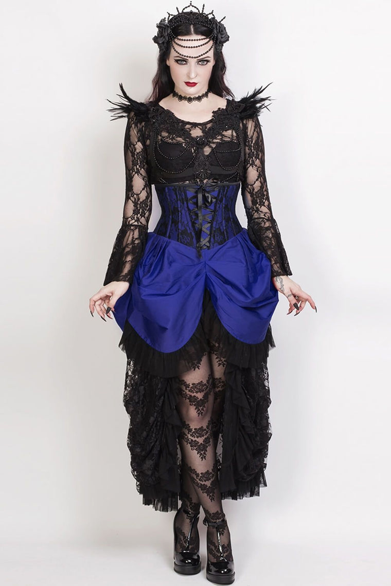 War Of Roses Underbust Corset & Bustle Skirt in Royal Blue