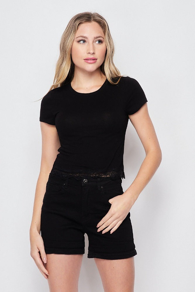 Lia Lace Hemmed Crop top
