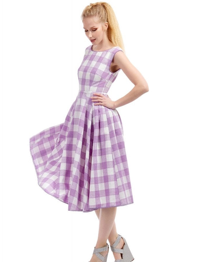 Pauline Purple and White Gingham Dress
