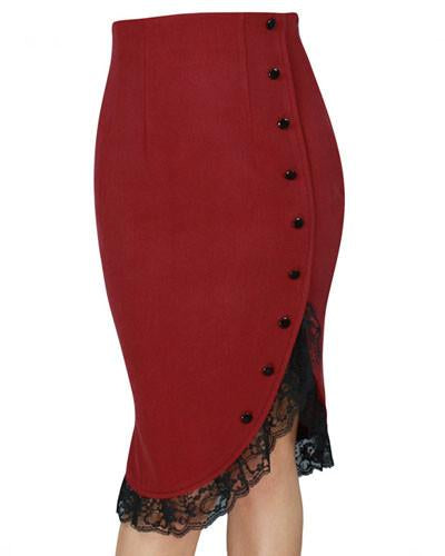Lady Jane Red Lace Pencil Skirt