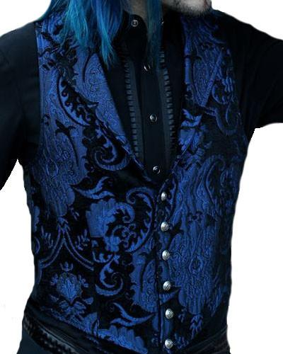 The Aristocrat Vest in Blue & Black Brocade