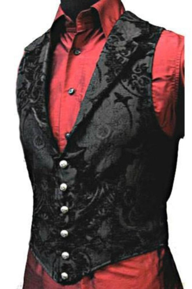The Aristocrat Vest in Black on Black Brocade