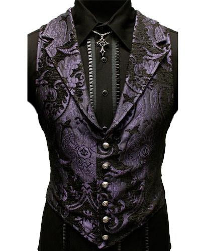 The Aristocrat Vest in Purple & Black Brocade