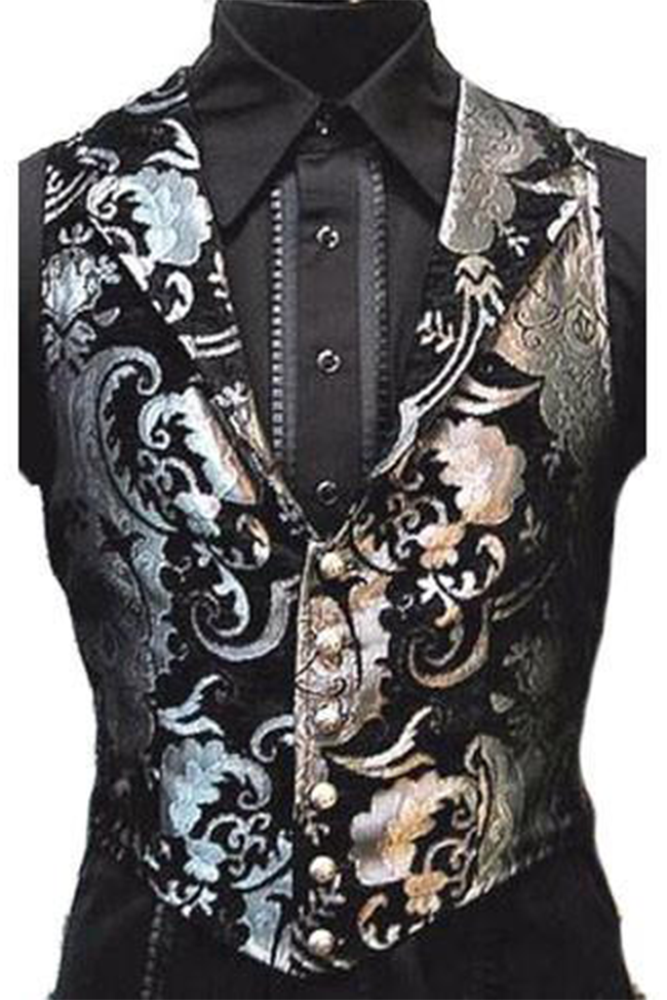 The Aristocrat Vest in Silver & Black Brocade