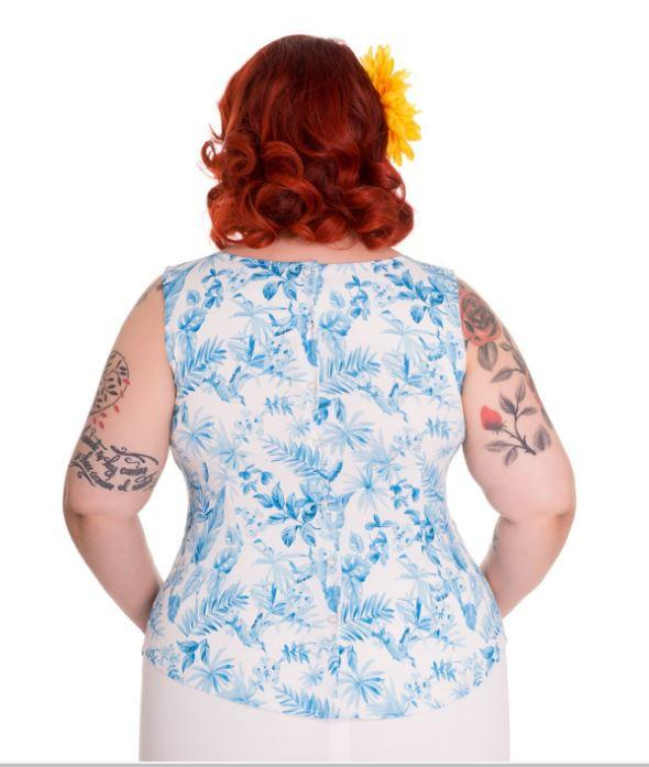 White and Blue Danielle Top | Pinup