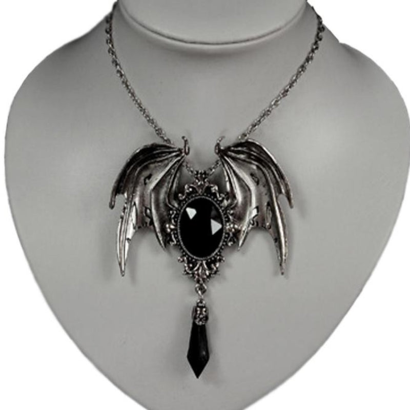 Dragon Wing Black Gem Pendant Necklace
