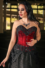 Madame LaVeau Beaded Overbust Corset in Blood Red
