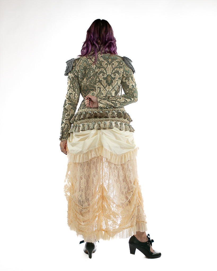 Brocade Work Kilt in Green & Ivory Brocade