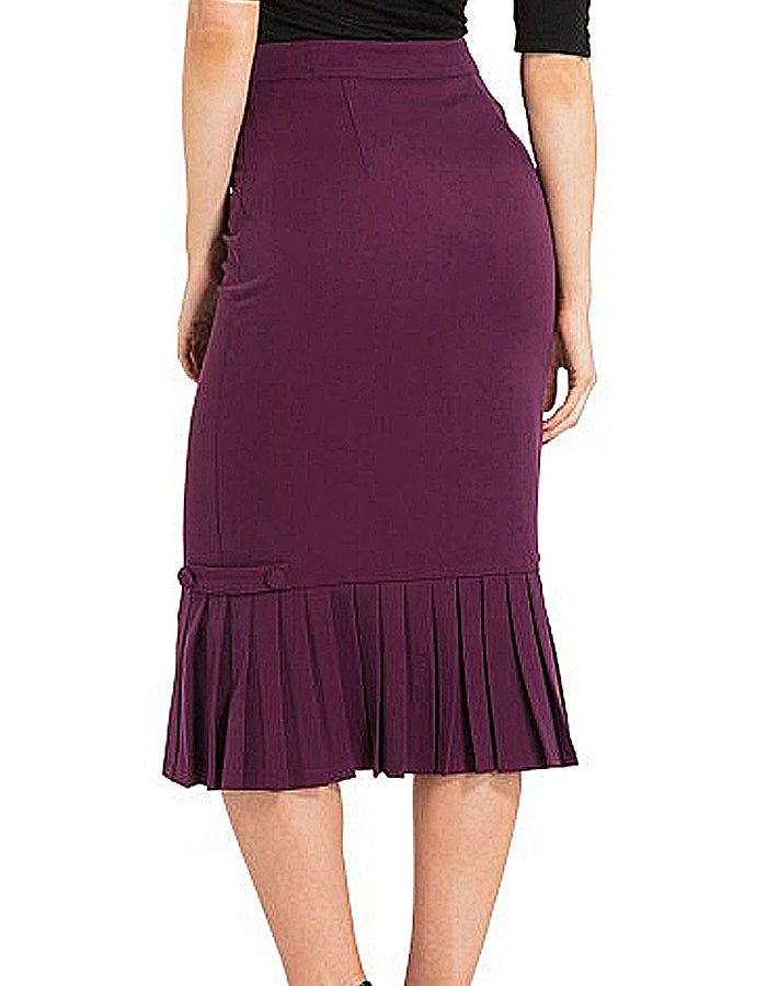 Violetta Eggplant Pleated Hem Pencil Skirt