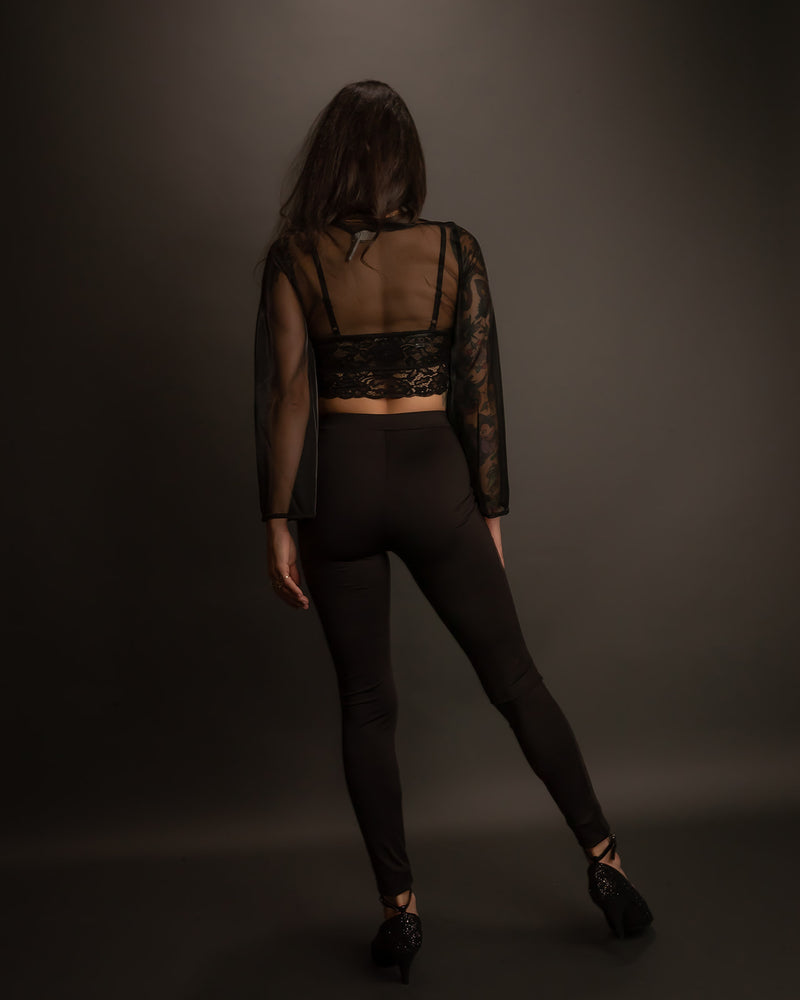 Black Lace Cut Out Leggings