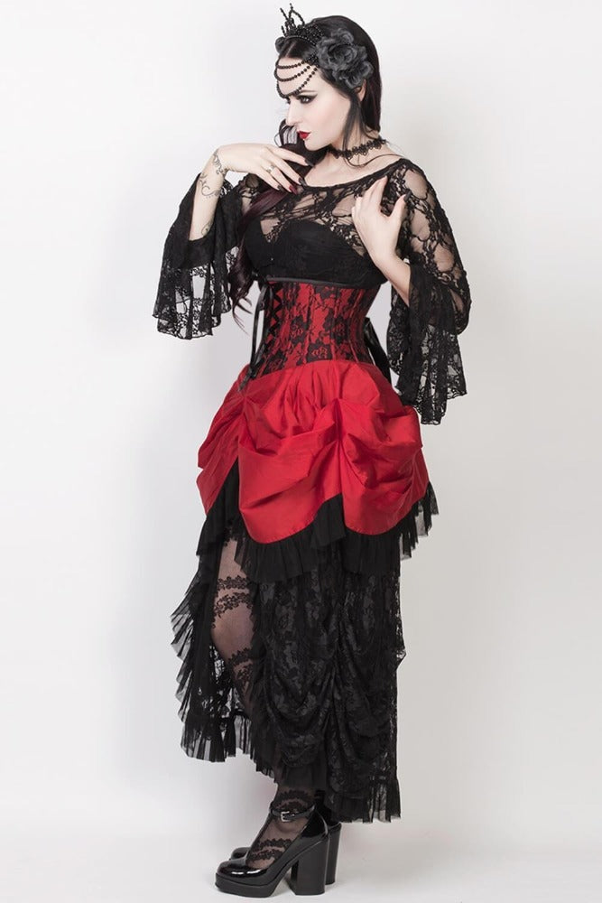 War Of Roses Underbust Corset & Bustle Skirt in Crimson
