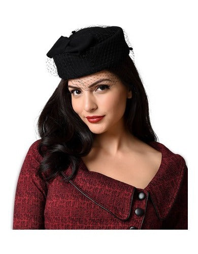 Netted Bow Pillbox Hat