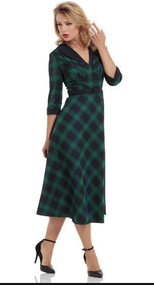 Rachel Tartan and Fur Cocktail Dress