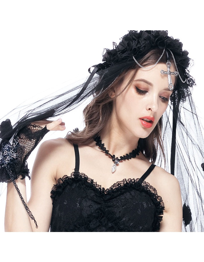 Gothic Black Bridal Cross Veil