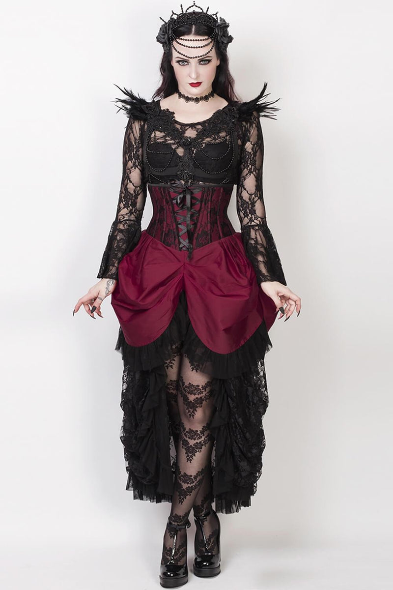 War Of Roses Underbust Corset & Bustle Skirt in Merlot
