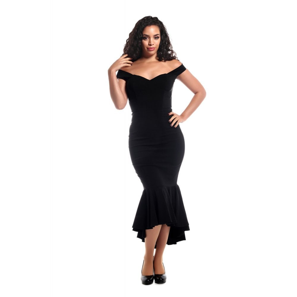 Valentina Black Fishtail Dress