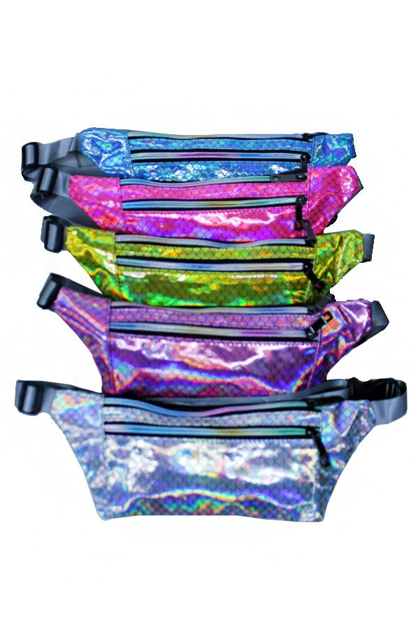 Holographic Scaled Double-Zip Fanny Pack