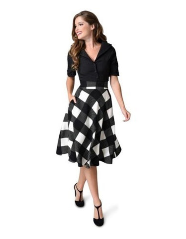 UV Black and Ivory Checkered Swing Skirt
