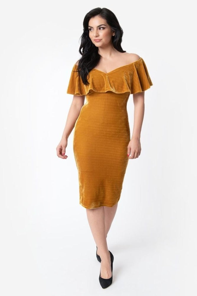 Sophia Wiggle Dress in Dijon