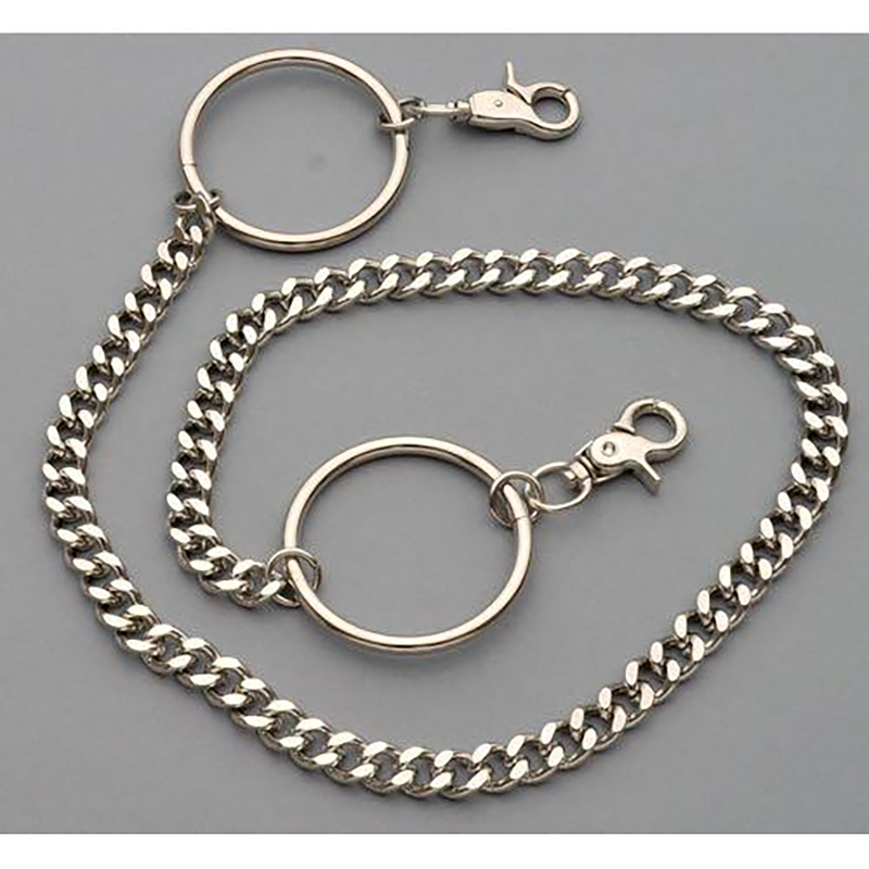 Chrome Double Hoop Wallet Chain