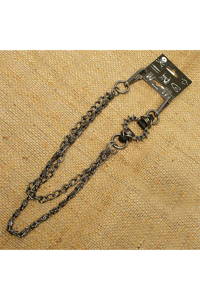 Spiked Ring Double Link Wallet Chain